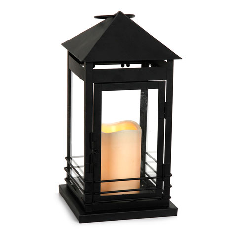 Metal Lantern with Plastic Candle - 5.875 x 5.875 x 11.75 inches