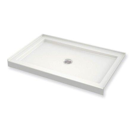 MAAX 410001-501-001 B3Round Rectangular Acrylic Shower Base with Center Drain, White