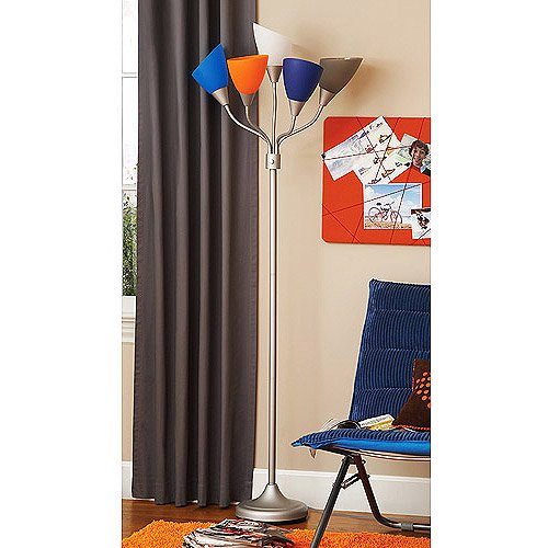 Yourzone 5 light floor lamp boy walmartcom for Your zone floor lamp replacement shades