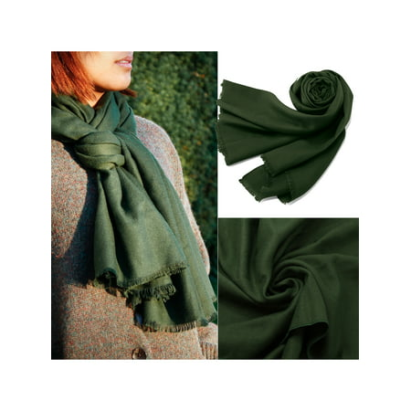 Women Large Scarf Soft Cashmere Feel Pashmina warm Shawls Wraps Winter Fall Scarfs Solid Color Light Weight Scarves with Tassel - Green