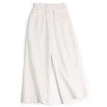 Plus Size Women Cotton Linen Ankle-length Pants Casual Loose Elastic Waist Trouser Wide Leg Straight Pants With Pockets Cotton Stretch Ankle Length Pants