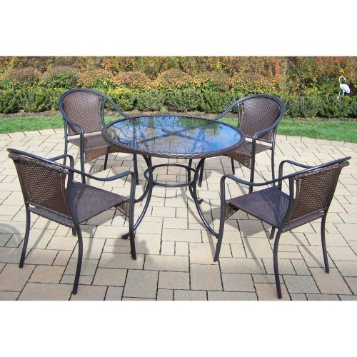 Oakland Living Elite Tuscany Resin Wicker 5 Piece Patio Dining Set