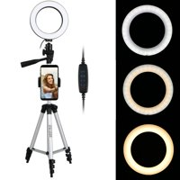 "TSV 6.2"" Selfie Ring Light with Tripod Stand & Cell Phone Holder for Live Stream/Makeup, Mini Led Camera Ringlight for YouTube Video/Photography Compatible with iPhone 11/11 Pro Xs Max XR 8 7 Plus X"