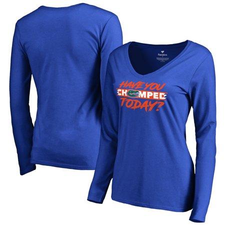 Florida Gators Fanatics Branded Women's Chomp Today V-Neck Long Sleeve T-Shirt - Royal](Gator Chomp)