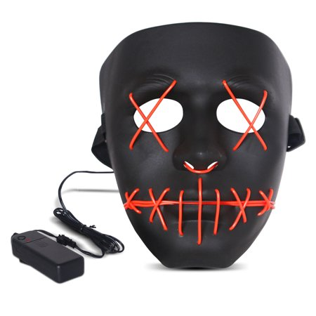 The Purge Halloween (Halloween LED Mask Purge Masks with Lighten EL Wires Scary Light Up Cosplay Costume Mask Battery-operated Glowing Creepy Mask Black with Red)