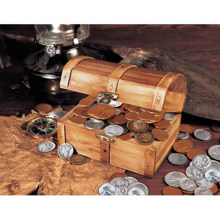 American Coin Treasures Historic Wooden 50 Old U.S. Coins Treasure Chest (Old Bronze Coin)