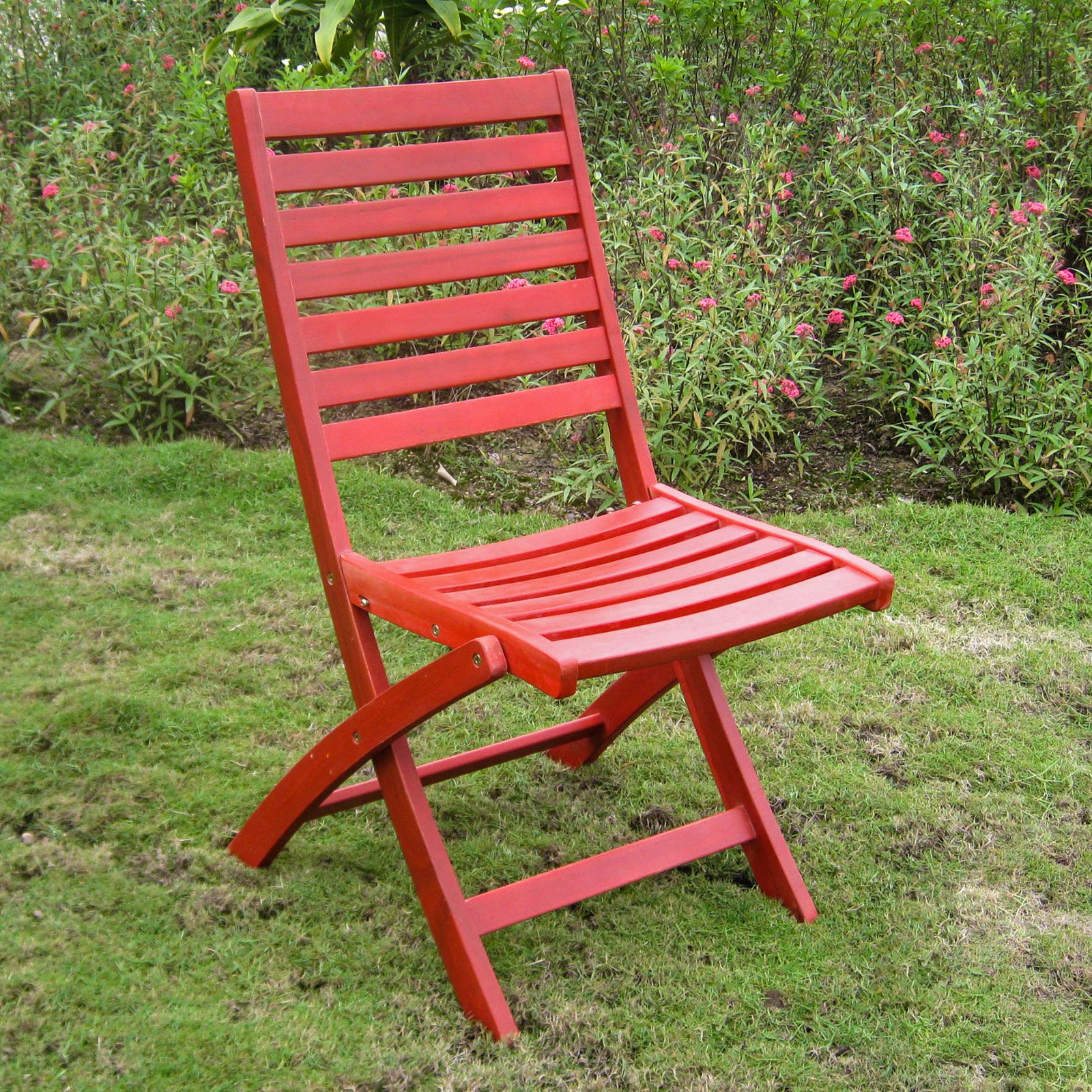 International Caravan Chelsea Acacia Folding Ladder Back Patio Chair - Set of 2