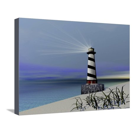 A Lighthouse Sends Out a Light To Warn Vessels Stretched Canvas Print Wall Art By Stocktrek Images