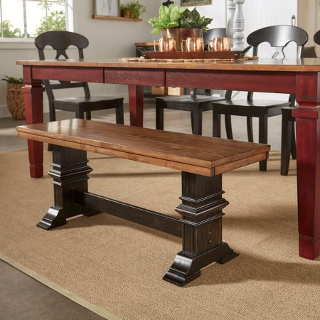 Trestle Table Bench - Weston Home Farmhouse Dining Bench with Trestle Leg, Multiple Finishes