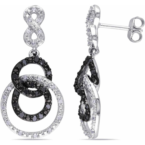 1/2 Carat T.W. Black and White Diamond Sterling Silver Interlocking Circle Infinity Earrings