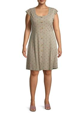 Monteau Women's Plus Size Knit Floral Dress