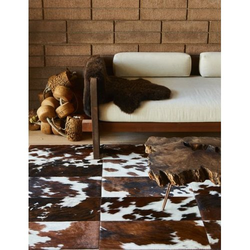 Foundry Select Beech Patchwork Hand-Woven Cowhide Brown/Black Area Rug