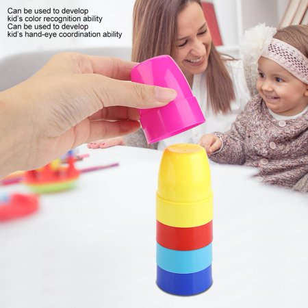 Qiilu Colorful Stacking Cups Game Toy with Cards for Kid Child Educational Intelligent Toys, Kid Cups Game Toy, Stacking Cups Toys - image 7 of 10