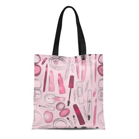 LADDKE Canvas Bag Resuable Tote Grocery Shopping Bags Make Up Beauty Product in Red and Pink Mascara Lipstick Eyeliner Blush Powder Tote Bag
