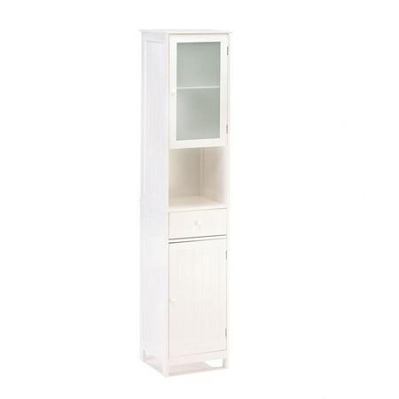 Storage Cabinet Organizer, White Lakeside Tall Standing Kitchen Storage  Cabinet
