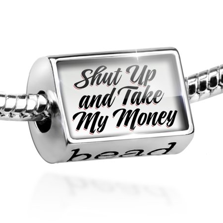 Bead Vintage Lettering Shut Up and Take My Money Charm Fits All European (Shut Up And Take My Money Credit Card)