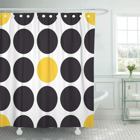 KSADK Gray Abstract Pattern with Black and Yellow Polka Dots on Autumn Baby Big Dark Bathroom Shower Curtain 60x72 inch ()