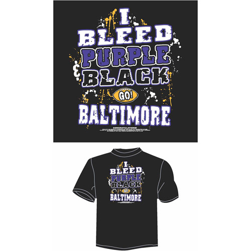 "Baltimore Football ""I Bleed Purple and Black, Go Baltimore"" T-Shirt, Black"