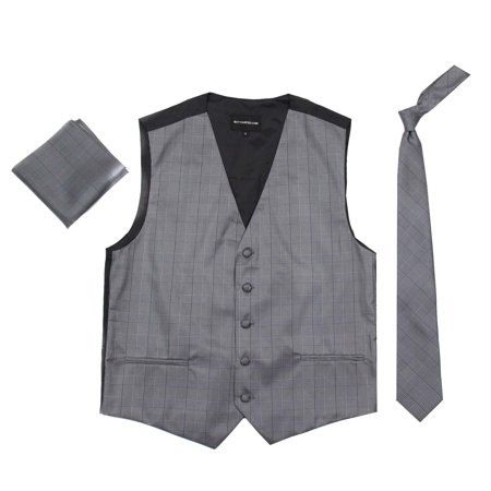 Prom Suit (Men's Plaid Dress Vest Tie for Tuxedo and Suit Proms and)