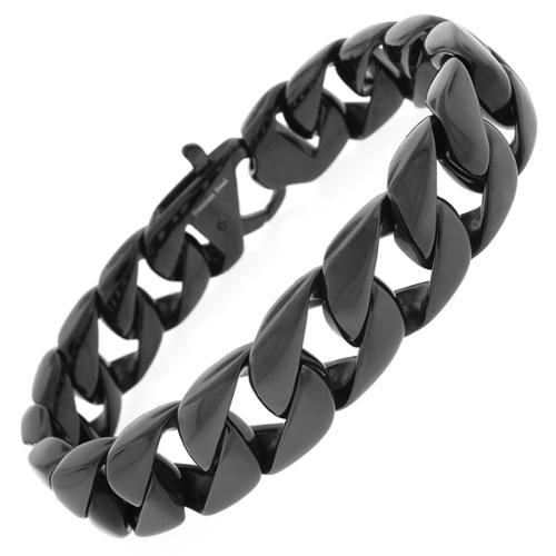Black Stainless Steel Men's 15mm Cuban Bracelet