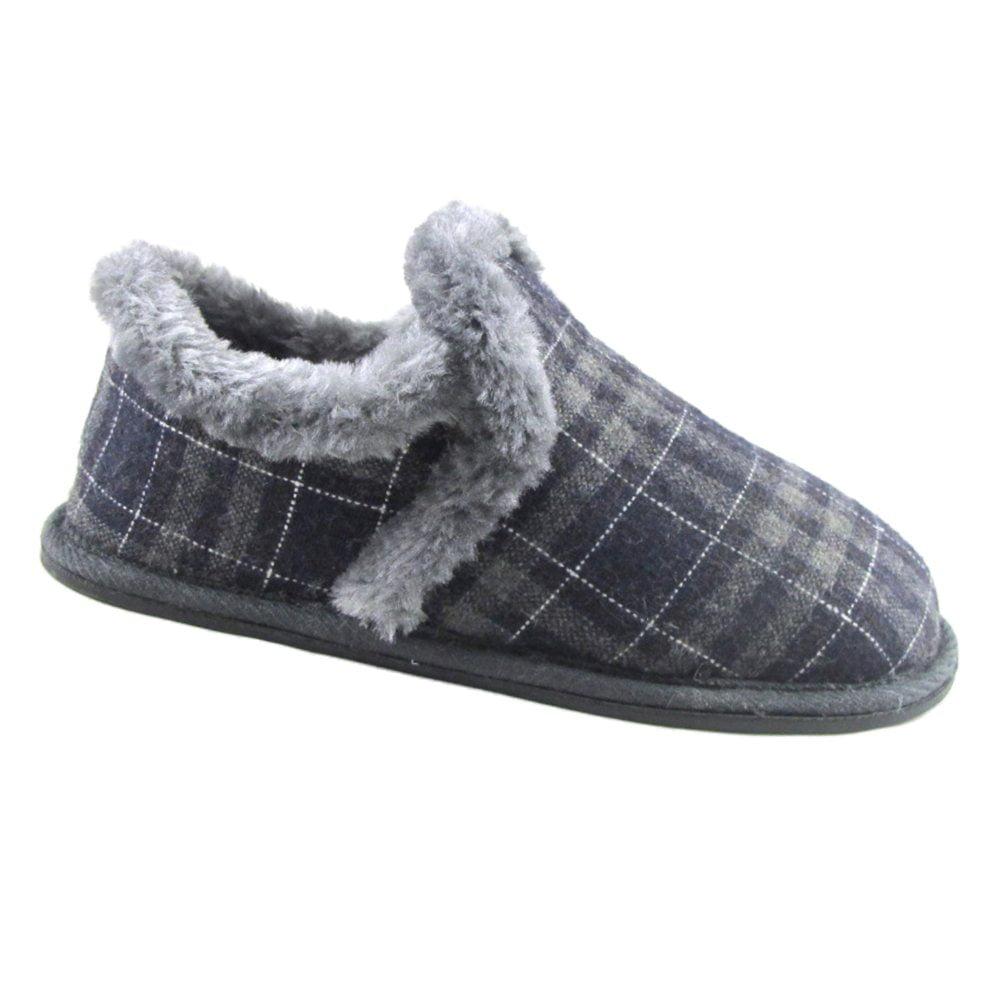 Walmart Brand Toddler Boys Blue Gray Plaid Slippers Shoes Size Medium 7-8