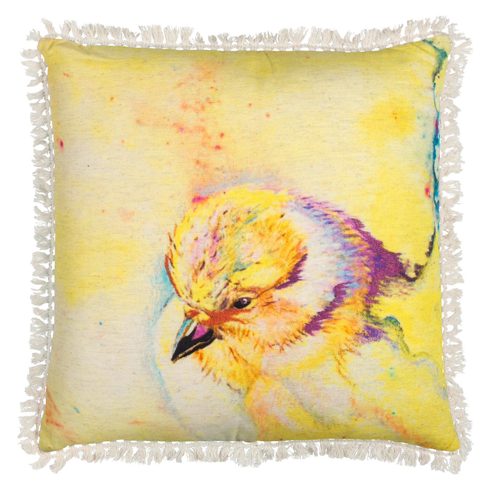 "Mariah Parris By Rizzy Home Decorative Poly Filled Throw Pillow Bird 20""X20"" Yellow"