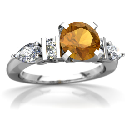 Citrine Engagment Ring in 14K White Gold by
