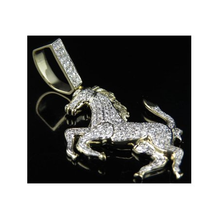 10k Gold Logo Charm - 10K Yellow Gold Ferrari Horse Logo 2.25 Inch Real Diamond Pendant Charm 1.25ct