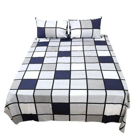 checkered 100 cotton bed sheet sets deep pocket fitted sheet 4pcs bedding sets. Black Bedroom Furniture Sets. Home Design Ideas