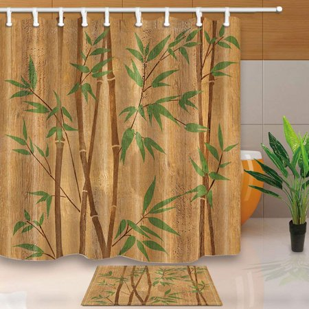 Hand Painted Bamboo Beaded Door (BPBOP Spa Decor Hand Painted Bamboo Branches on Wood Texture Shower Curtain 66x72 inches with Floor Doormat Bath Rugs 15.7x23.6)