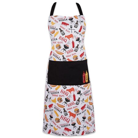DII BBQ Print Chef Apron with Pockets, 35x28