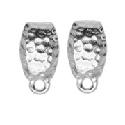 Rhodium Plated Pewter Stud Post Earrings Hammered 13.5mm 1 Pair