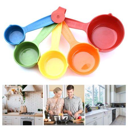 5 Pcs/Set Colorful Plastic Kitchen Measuring Cups Ergonomic Handle Sugar Cake Baking Spoon Household Measuring Scoop - image 4 de 4