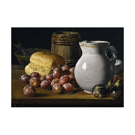 Still Life with Plums, Figs, Bread and Fish Print Wall Art By Luis Egidio Meléndez