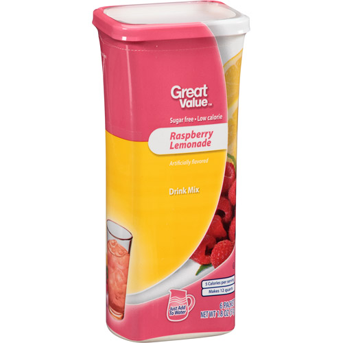 Great Value Raspberry Lemonade Drink Mix, 1.8 oz, 6 count
