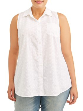 Terra & Sky Women's Plus Size Tie Front Button Up Tank