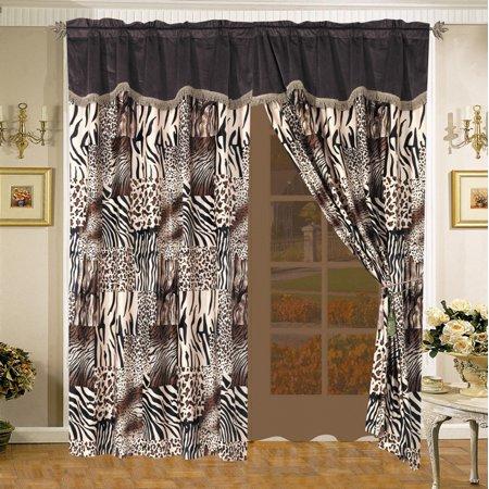 Safari Zebra Giraffe Micro Suede Curtain Set Walmart Com