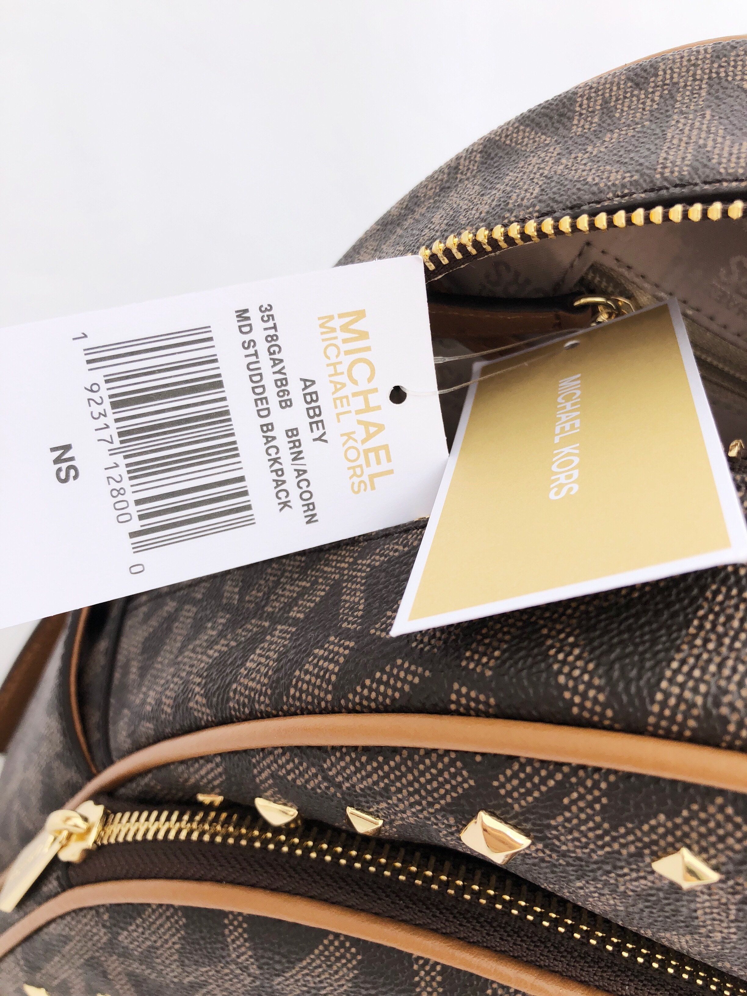 a666d03746 Michael Kors - Abbey Medium Backpack Brown MK Signature Stud Acorn -  Walmart.com