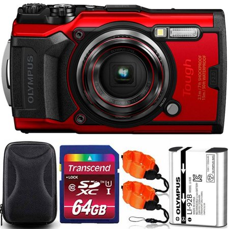 OLYMPUS Tough TG-6 12MP Waterproof W-Fi Digital Camera Red with 64GB Memory Card + Strap & Case