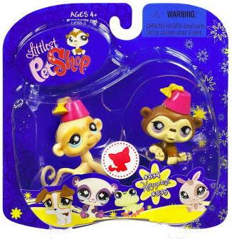 Littlest Pet Shop 2009 Assortment B Series 2 Chimp & Monkey Figure 2-Pack