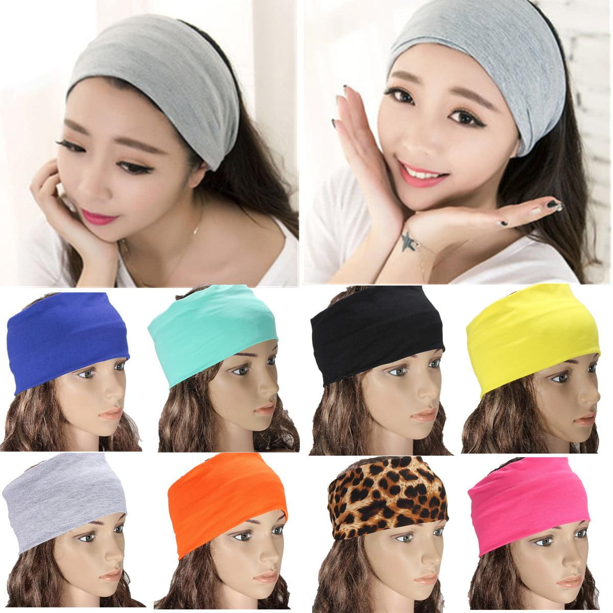 5inch Womens Yoga Headband Stretch Hairband Elastic Hair Band Turban Gym