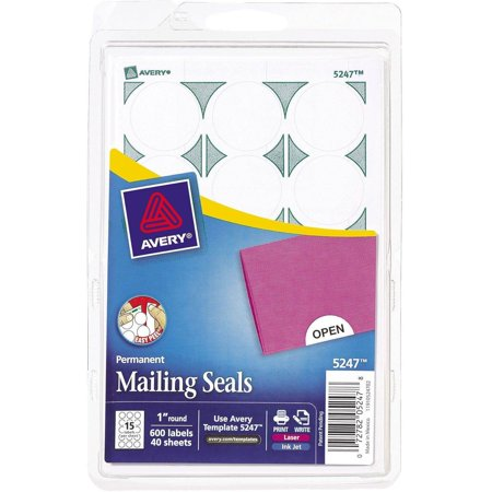 Avery Printable Mailing Seals  1   Dia   White  600 Pack