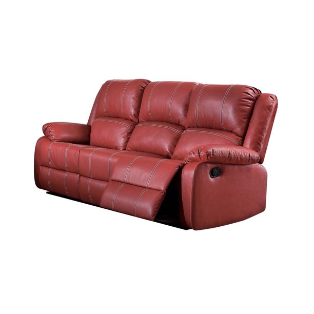 Acme Zuriel Reclining Sofa In Red Faux, Red Leather Reclining Sofa And Loveseat