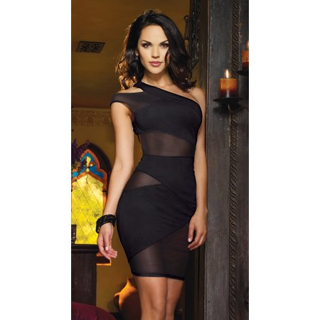 Mesh And Knit One Shoulder Dress, Power Mesh And Ponte Knit Asymmetrical Dress