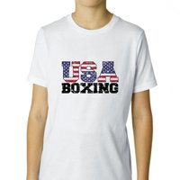 USA Olympics - Boxing - Vintage Letters Boy's Cotton Youth T-Shirt