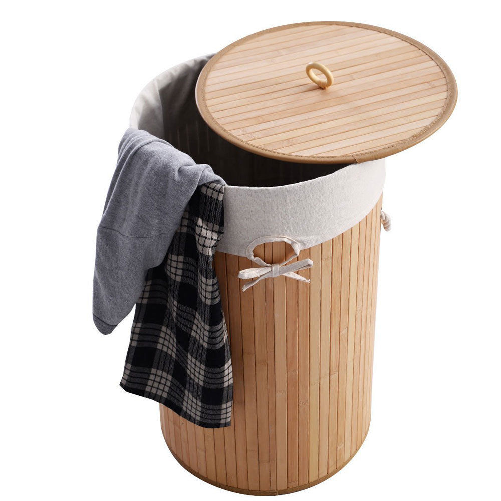 Zimtown Bathroom Laundry Hamper Basket Wicker Clothes Storage Bag Sorter Home Lid