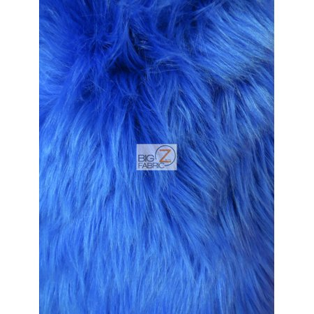 Faux Fake Fur Solid Shaggy Long Pile Fabric / Royal Blue / Sold By The Yard
