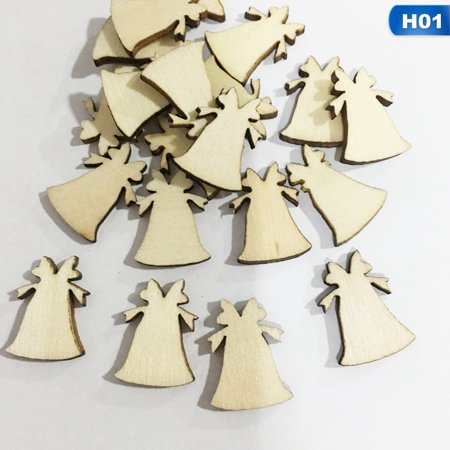 KABOER 50Pcs Art Craft Christmas Xmas Wood Chip Hanging Ornaments Decoration Gift ~