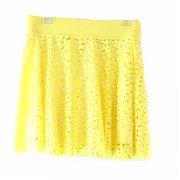 INC NEW Yellow Women's Size Medium M Floral Laser-Cut A-Line Mini Skirt $79