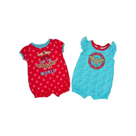 DC Superhero Toddler Girls Wonder Woman One-Piece Bodysuits 2-Pack
